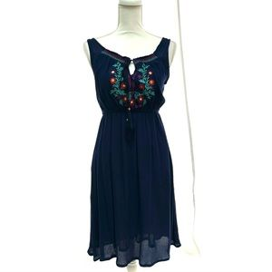 Magic Blue Embroidered Gauzy Sundress - Small